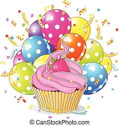 Magdalena de cumpleaños con globos