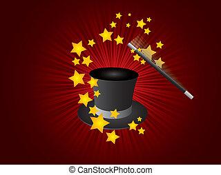 magia, vector, sombrero