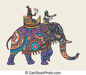 maharajah, elefante indio, florido