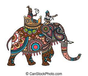 maharajah, indio, coloreado, elefante