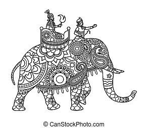 maharajah, páginas, colorido, elefante indio