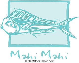Mahi mahi pez en azul