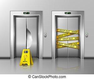 maintenance., elevadores, reparación, cerrado, o, roto