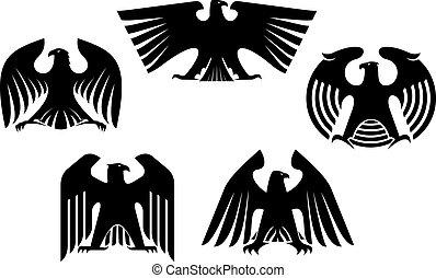 majestuoso, águilas, heráldico, fuerte