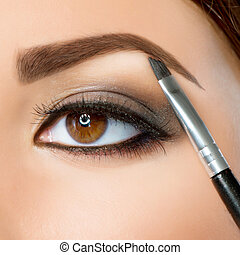 makeup., ojos, ceja, marrón, make-up.