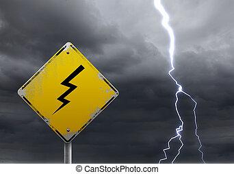 mal tiempo, advertencia, adelante, señal