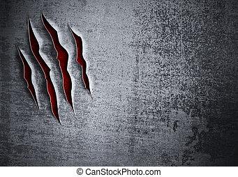 Maldito concepto de pared de metal grunge