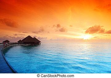 maldivian, casas, salida del sol