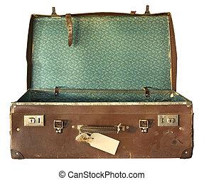 maleta, abierto, vendimia
