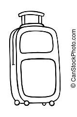 maleta, aislado, vector, fondo blanco