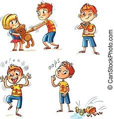 malo, caricatura, divertido, behavior., carácter
