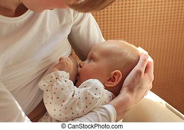 Mamá amamantando al bebé