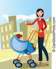 Mamá con cochecito de bebé