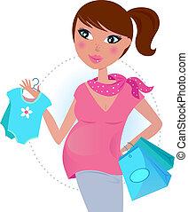 Mamá embarazada espera al bebé