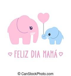 mamá, feliz, dia