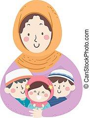 mamá, ilustración, musulmán, niños, abrazo