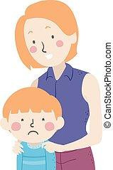 mamá, ilustración, tacto, niño, niño, triste
