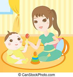 Mamá jugando con el bebé
