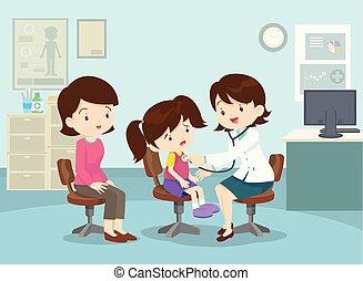 Mamá llevó a su chica a ver al doctor