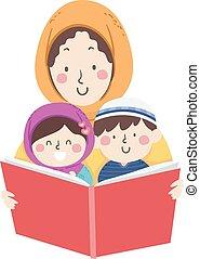 mamá, musulmán, libro, leer, el storytelling, niños