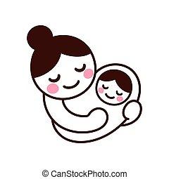 mamá, teniendo bebé