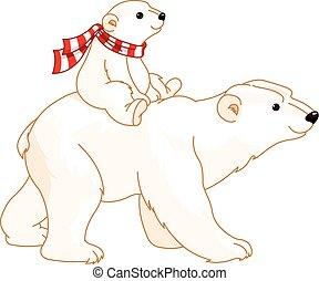 Mamá y bebé oso polar