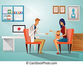 Mamá y Boy para ver a Doctor sentados en la mesa en el hospital, en la enfermería, en la clínica, en el concepto de cuidado sanitario. Cura a un médico profesional en el lugar de trabajo. Madre y su hijo con el doctor.