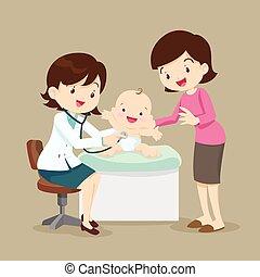 Mamá y el médico pediatra examinan al bebé