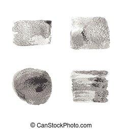 Mancha de manchas de pintura plateada marcada en el fondo blanco.