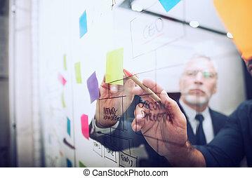 mancha, pen., trabajo en equipo, dibujo, empresa / negocio, diagrama, éxito, concepto, sociedad, trabajo, juntos, gente