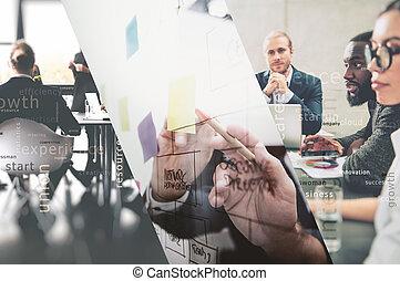 mancha, pen., trabajo en equipo, dibujo, empresa / negocio, diagrama, concepto, exposición, collage, sociedad, trabajo, juntos, doble, success., gente