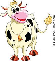 manchado, caricatura, vaca