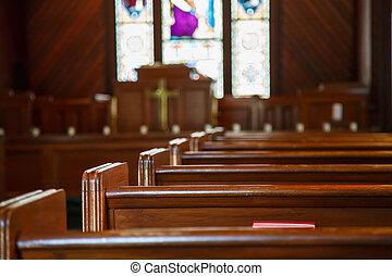 manchado, pews, vidrio, púlpito, iglesia, más allá de