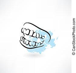 mandíbula, dientes, icono