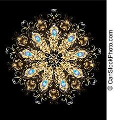 Mandala de las plumas de pavo real dorado