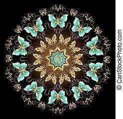 Mandala de mariposas doradas