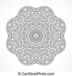 Mandala. Elementos étnicos decorativos Indios, Islam, motivos árabes