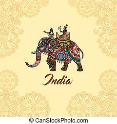 mandala, maharaja, ornamento, elefante indio
