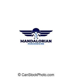 mandalorian, diseño, paramédico, vector, logotipo