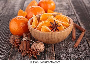 mandarín, fruta, mandarina, o, especias