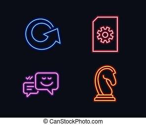 Manejo de archivos, recarga y iconos emocionales felices. Señal de estrategia de marketing. Doc con rueda dentada, actualización, chat.