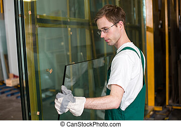 manejo, vidriero, vidrio, taller