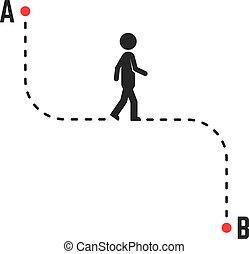manera, único, dirección, b, o