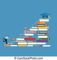 manera, duro, largo, doctor, filosofía, phd, grado