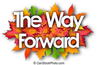 manera, otoño, palabra, delantero, hojas, plano de fondo