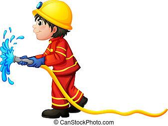 manga agua, tenencia, bombero