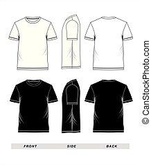manga corta, camiseta, negro, plantilla, blanco