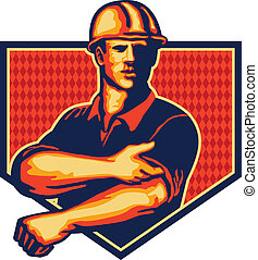 manga, trabajador, arriba, construcción, retro, rodante
