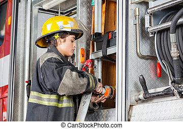 manguera, fijación, bombero, camión de agua, hembra