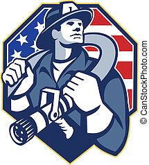 manguera, fire-fighter, bombero, fuego, norteamericano, retro